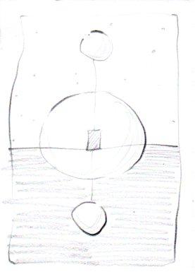 Verbonden 7 x 10 centimeter potlood op papier