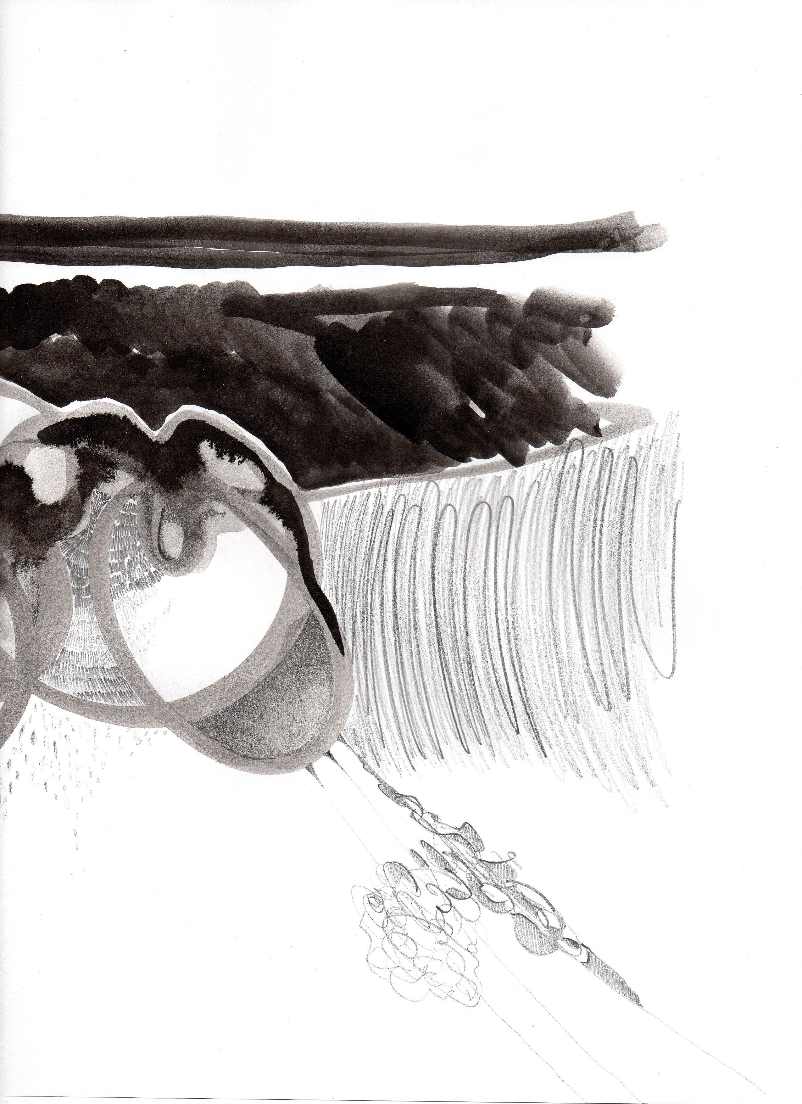 The third eye - potlood en inkt op papier - Suzanne Bodde 2016